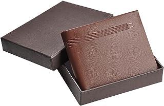 Yescom Lichee Pattern Minimalist Mens Slim Wallet Business Credit ID Card Holder Wallet Men Bifold Brown