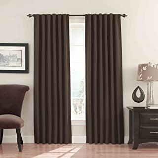 """ECLIPSE Fresno Thermal Insulated Single Panel Rod Pocket Darkening Curtains for Living Room, 52"""" x 95"""", Mushroom"""