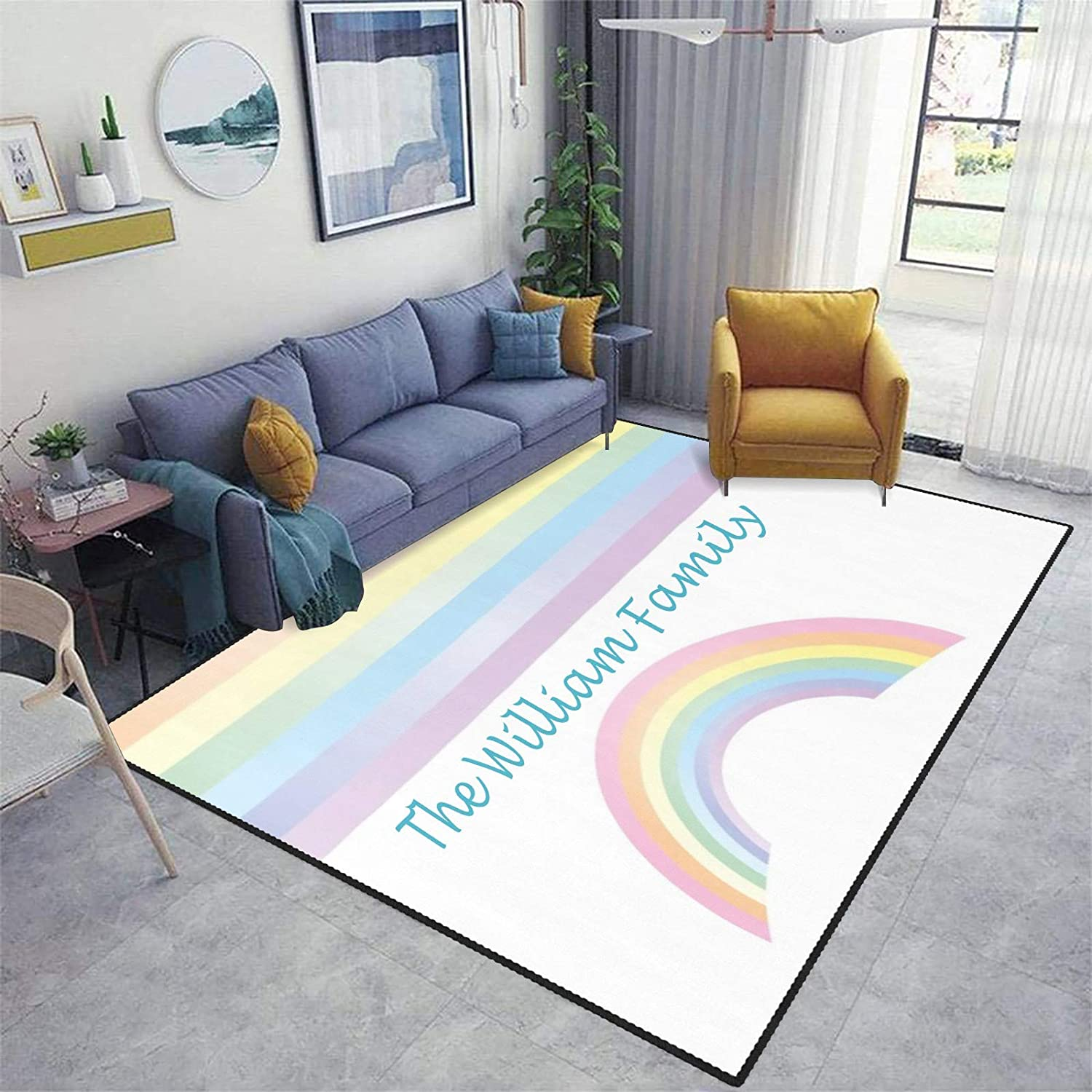 Watercolor Rainbow Area Rug Custom Overseas parallel import regular item Livin Personalized Carpet Limited time for free shipping