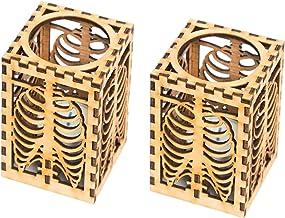 LEMOKIKI 1/2 Stks Halloween Skull Rib Shadow Lamp, Houten Halloween Rib Shadow Light- Kan Kaarsen plaatsen, 3D Creatieve S...