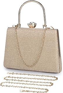 UBORSE Abendtasche Damen Clutch Bag Kette Shiny Handtasche Umhängetasche für Hochzeit Party - Gold