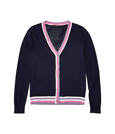 J.Crew V-Neck Cardigan with Stripe Placket (Navy Dusty Orchid Multi) Women