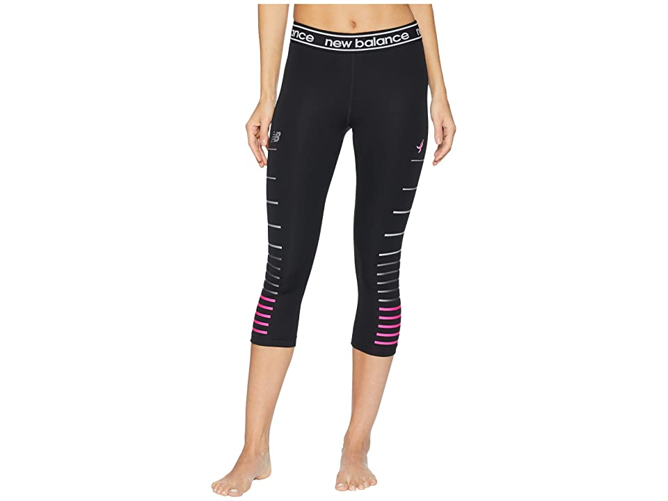 New Balance Pink Ribbon Printed Accelerate Capri (Black Multi) Women