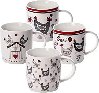Mugs Set of 4 Porcelain China Coffee Cups for Tea, Coffee and Hot Drinks with Chickens, Chicken Gift for Animal Lovers Wom...