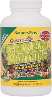 NaturesPlus Source of Life Green Lightning - 180 Vegetarian Capsules - All Natural High Energy Whole Food Supplement - Gre...