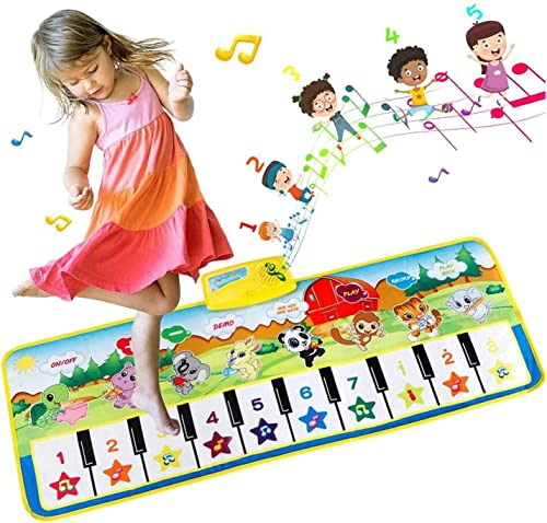 EXTSUD Tapis Musical Bébé Piano Tapis de jeu Musical Instrument Touch Jeu Clavier pour enfants 100x36cm