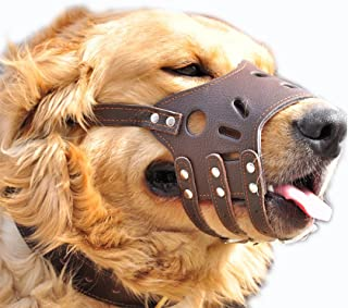 JeonbiuPet Adjustable Dog Muzzle Anti Bite Bark Allow Drink Soft Leather