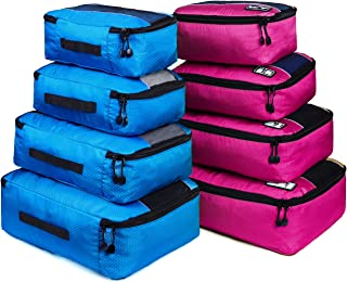 Packing Cubes, Idesort Travel Luggage Organizer Mixed Color Set(Rose/Blue)