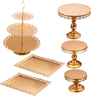 6pcs, Gold Lucky Monet 6Pcs Crystals Cake Stand Cupcake Tower Stand Wedding Plates Set Metal Round Party Dessert Display D/écor with Crystals Beads