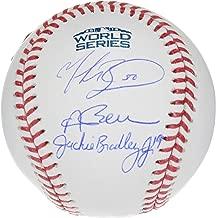 Andrew Benintendi, Mookie Betts and Jackie Bradley Jr. Boston Red Sox 2018 MLB World Series Champions Autographed Logo Baseball - Fanatics Authentic Certified