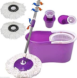 PrimeTrendz Easy Magic Floor Mop 360° Bucket 2 Heads Microfiber Spin Spinning Rotating Head in Assorted Color in Purple, Blue Or Green
