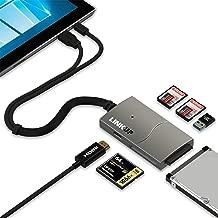 LINKUP Surface Pro 6/5/4/3/2 Compatible SD Card Micro Memory Reader Adapter Hub | 8-in-1 Docking Station | 4K HDMI SATA SSD USB-A 3.0 2x SD/MicroSD 1x CF Slots|Mini DP USB3 Inputs for Both Mac/Windows