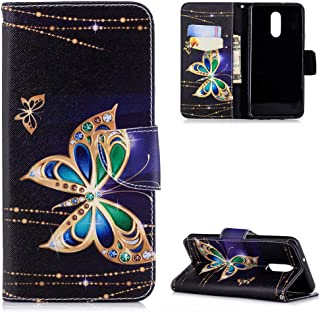 LG Q Stylo 4 Case, Painted Wallet Case PU Leather Credit ID Card Magnetic Flip Protective Skin Shell with Wrist Rope for LG Q Stylo 4 ZSTVIVA - Gold Butterfly