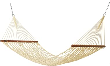 Hatteras Hammocks DC-11OTSmall Oatmeal DuracordRope Hammock with Free Extension Chains & Tree Hooks, Handcrafted in The