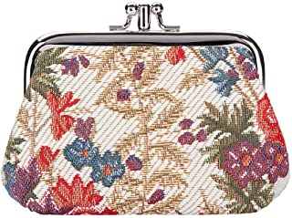 Signare Tapestry Cute exquisite Double Pocket Kiss lock Coin Purse for Women with Flower Meadow Design