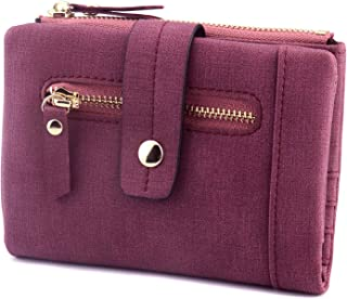 Kinsoland 9 Card Slots Fit 18+ Cards Compact Small Bifold PU Leather Wallet with Coin Pocket for Women