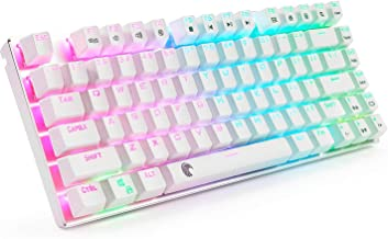 E-Element Z-88 RGB Mechanical Gaming Keyboard, Brown Switch, LED Backlit, Water Resistant, Compact 81 Keys Anti-Ghosting for Mac PC, White