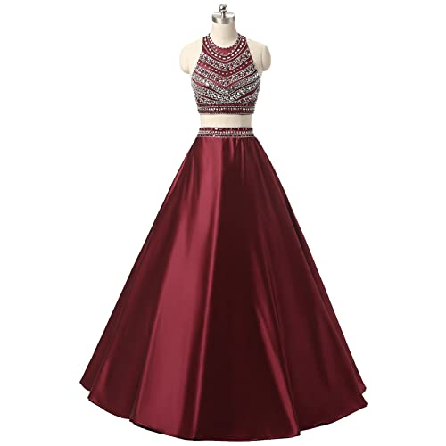 2fedefce869 Himoda Women s Two Pieces Beaded Evening Gowns Satin Sequined Prom Dresses  Long H052