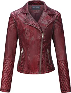 Women's Faux Leather Short Jacket,Distressed Retro Moto Casual Coat