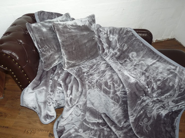 3tlg. Set Luxus Kuscheldecke Tagesdecke Decke grau     anthrazit 160x200cm+ 2 Kissen 40x40cm B00C1BOP70 8594d3