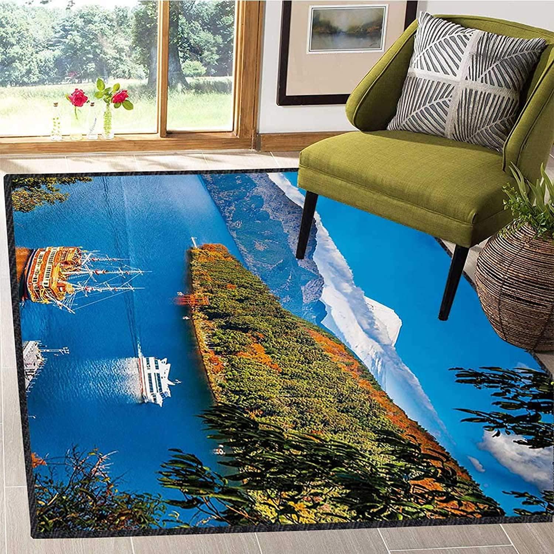 Pirate Ship, Door Mats for Inside, Lake Ashi Mount Fuji Japan Town Hakone Travel Touristic Destination, Door Mats for Inside Non Slip Backing 5x7 Ft Green bluee orange