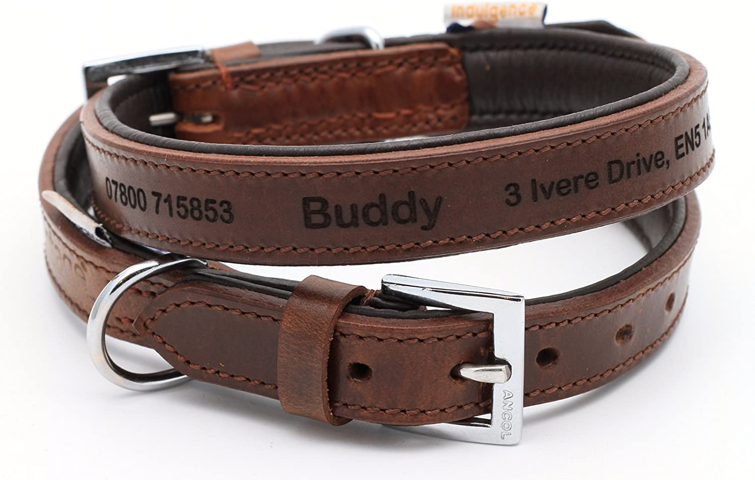 566d59ca4918 Premium Ancol Vintage Leather Padded Collar Personalized Dog ...