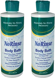 No-Rinse Body Bath, 8 fl oz - Leaves Skin Clean, Refreshed and Odor-Free (Pack of 2) - Makes 16 Complete Baths