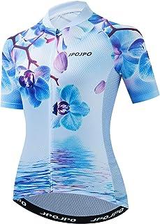 JPOJPO Women's Cycling Jersey, Short Sleeve and Bike Clothing Reflective 3-Pockets S-3XL