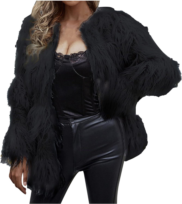 Women's Fall Open Front Cardigan Faux Fur Coat Vintage Parka Shaggy Jacket Warm Coat Tops Fashion Long Sleeve Outerwear