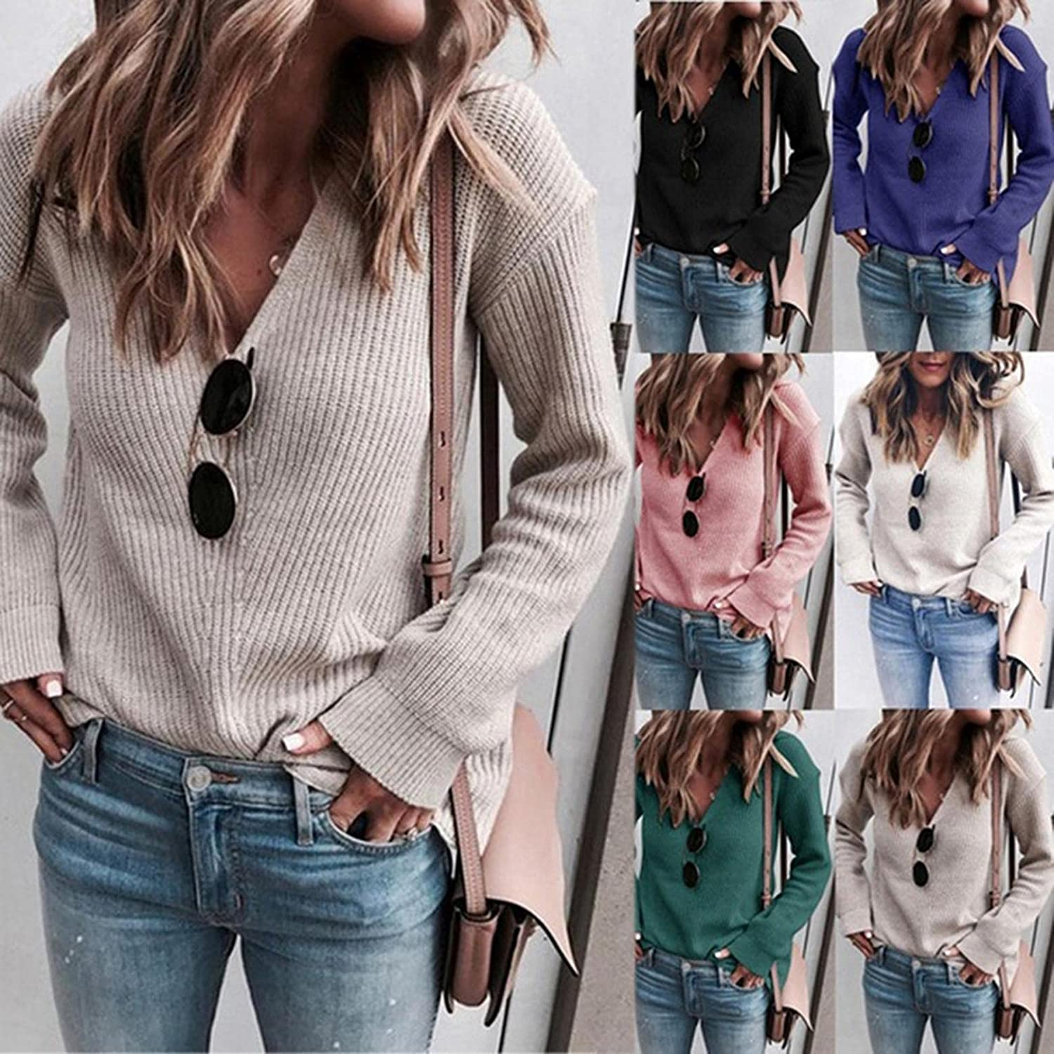 Sweaters for Women Oversized Casual Long Sleeve V Neck Sweatshirts Loose Blouses Chunky Knitted Pullover Sweaters Tops