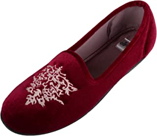 ABSOLUTE FOOTWEAR Womens Velour Style Slip On Slippers/Indoor Shoes with Attractive Design