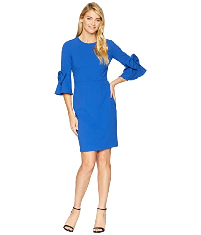Donna Morgan 3/4 Bell Sleeve Crepe Shift Dress w/ Bow Detail at Wrist (Blue Flame) Women
