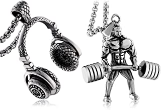 Pendant for Men Stainless Steel Fitness Male Hercules Barbell Weightlifting Headset Silver Pendant Necklace