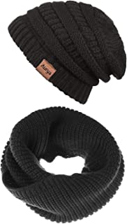 Aurya Winter Cable Knit Beanie Hat and Infinity Scarf Set,Men&Women Warm Skull Cap