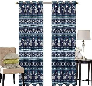 hengshu Nordic Pattern Curtains Blackout Snowman Pattern Geometric Angled Lines Chevron Zigzag Knitting Design Bedroom Decor Living Room Decor W52 x L36 Inch Dark Blue Turquoise White