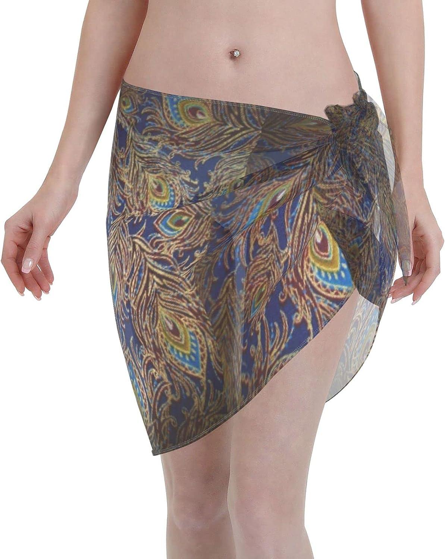 Love Animal Women Short Sarongs Beach Wrap,Women's Designer Peacock Feathers Sheer Bikini Wraps Chiffon Cover Ups for
