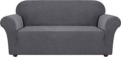 Stretch Couch Cover Sofa Covers for 3 Cushion Couch 1 Piece Sofa Slipcovers for Living Room Couch Protector for Dogs High Spandex Textured Small Checks Jacquard Fabric(Sofa, Charcoal Gray)