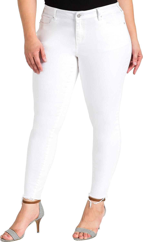 Standards & Practices Plus Size Women's Released Hem White Skinny Premium Jeans