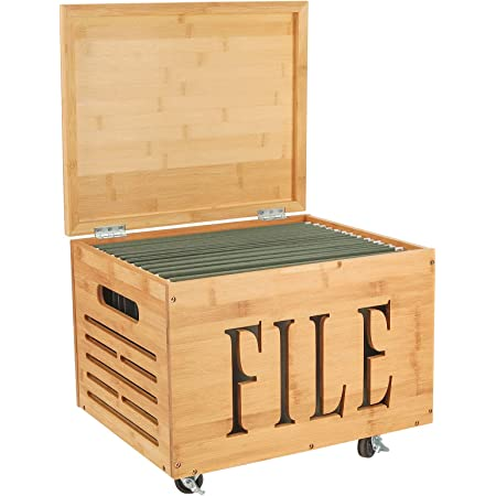 Coffee Brown TQVAI Bamboo Mobile Rolling File Cabinet with Lid Hanging Filing Sliding Office Organizer