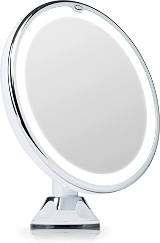 Fancii Magnifying Makeup Mirror 7X with Natural LED Lights, Locking Suction Cup, Cordless Portable Illuminated Vanity...