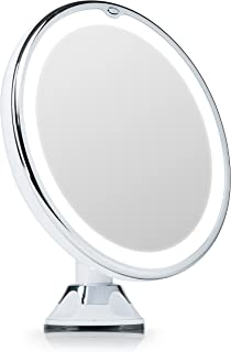 Fancii Lighted Vanity Makeup Mirror, 7X Magnifying with Natural LED Ring Lights, Locking Suction, Cordless Travel Cosmetic Mirror (Maya)