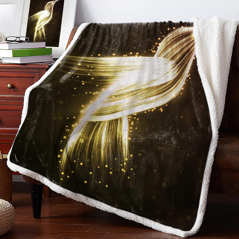 Dedication Advancey Sherpa Blanket Fleece Golden shop Dreamlike Throw Hummingbir