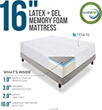 LUCID 16 Inch Plush Gel Memory Foam and Latex Mattress - Four-Layer - Infused with Bamboo Charcoal - Natural Latex and CertiPUR-US Certified Foam - 10-Year Warranty - Twin with LUCID Encasement Mattress Protector - Twin
