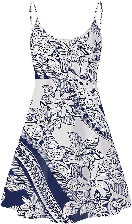 XYZCANDO Women Sleeveless Dresses Summer Strap One Piece Dress Beach Sundress Vintage Polynesian Tribal Floral Print