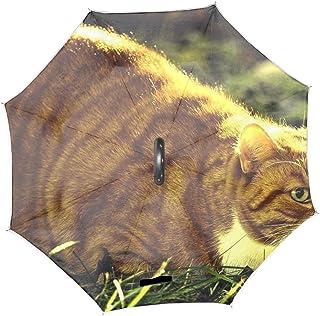 逆転傘 メンズ長傘 日傘 ブラック 逆さ傘猫草日光厚い横になっています ビジネス用 車用 大きい 超撥水 耐風 頑丈 折りたたみ 収納便利 手離れC型手元 夜行安全 雨傘