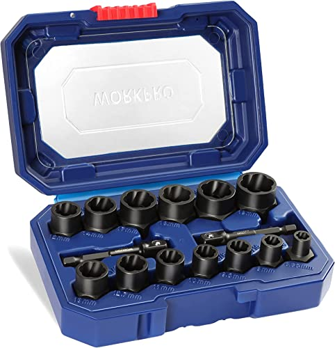 """2021 WORKPRO outlet sale 15 Pieces Impact Bolt & Nut outlet online sale Remover Set, 3/8"""" Drive Bolt Extractor for Removing Stripped, Damaged, Rounded off and Rusted Bolts & Nuts outlet sale"""
