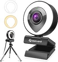 Pasavant 1080P Webcam mit Mikrofon, Ringlicht und Stativ für PC Live-Streaming, Full HD Kamera USB Plug & Play Facecam für...