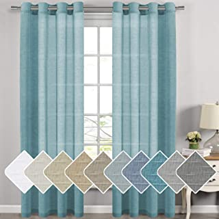 H.VERSAILTEX Natural Linen Sheer Curtains for Living Room/Dining Room, Extra Long Curtains Made of Rich Linen Soft Material, Nickel Grommet Window Panel Drapes (Set of 2, 52 by 108 Inch, Turquoise)