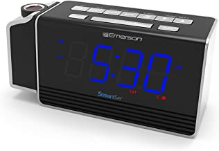 Emerson SmartSet Projection Alarm Clock Radio with USB Charging for..