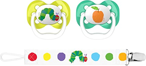 """Dr. Brown's Dr. Brown's Eric Carle""""The Very Hungry Caterpillar"""" Advantage Pacifiers with Clip 2 Piece Set, Stage 1 (0-6m), Caterpillar & Orange"""